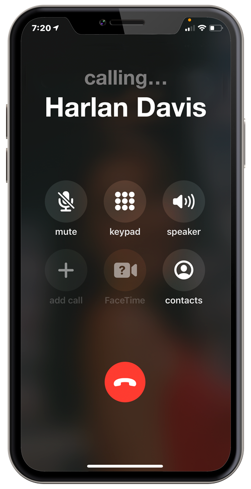 iPhone X displaying phone call screen calling Harlan Davis.